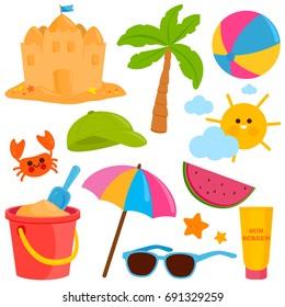 Beach summer vacation design elements. Vector illustration