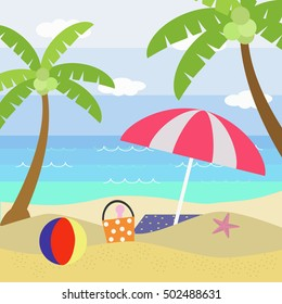 Beach In Summer.Vector Illustration of Beach. Sand, Palm Trees, Umbrella, Toys, Sky and Clouds.