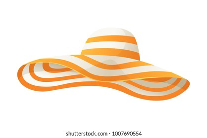 Beach sun protaction hat. Female beach hat, isolated vector illustration