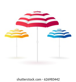 Beach sun umbrellas collection. Open colorful parasols. Vector illustration.