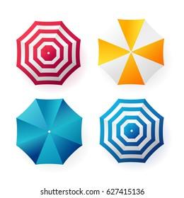 Beach sun umbrellas collection. Top view. Vector illustration.