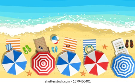 beach sun umbrellas flip-flops and beach Mat on the background of sand near the sea surf with starfish, top view. Vector illustration in flat style