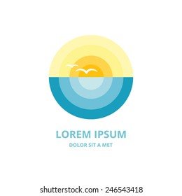 Beach and sun vector logo design template. Sea, Horizon, birds - Creative Concept icon.