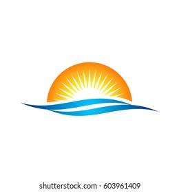 Beach Sunrise Logo Template