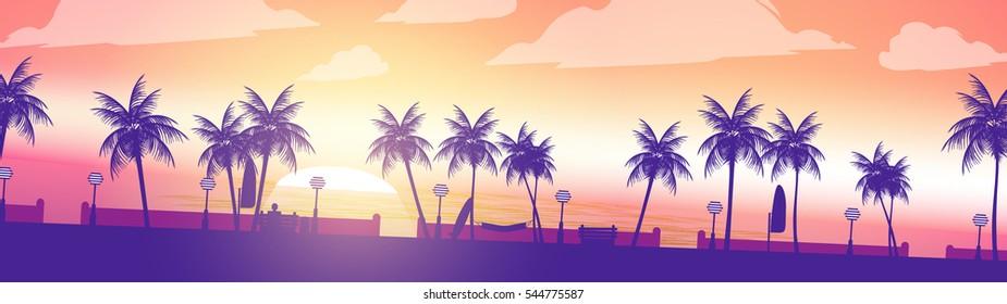 Beach Sunset Walkway Palm Trees Panorama - Vector Illustration