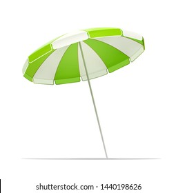 Beach sunshade for summer rest. Striped Sun umbrella. Vacation accessory. Summertime relax. Relaxation equipment. Isolated on white background. Eps10 vector illustration.