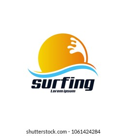Beach Surfing Extereme Sport Logo Icon Template Design. Vector Illustration