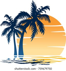 BEACH THEME. Illustration of the wave, coast, palm trees and the sun