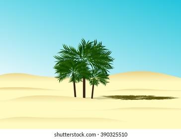 Beach, three palm trees and blue sky