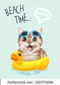 beach time slogan with cute cat in swim goggle and swim ring illustration