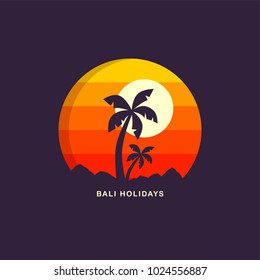 beach time tropical island summer vacation vector art logo template
