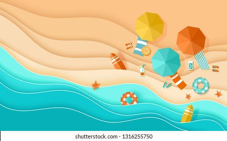 Beach top view background with sea waves, sand, umbrella, deck chair, surfboard, starfish, ball, cocktail, beach sandals, lifebuoy papercut, Place for text, paper craft aerial view vector