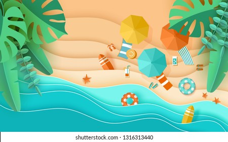 Beach top view background with sea waves, sand, tropical leaves, umbrella, deck chair, surfboard, starfish, ball, cocktail, beach sandals, lifebuoy papercut, Place for text, paper craft aerial view