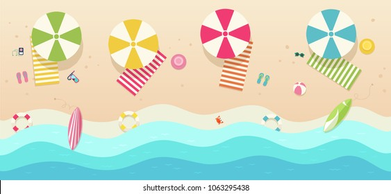 Beach, top view with umbrellas, towels, surfboards, sunglasses, hats, ball.