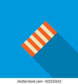 Beach towel icon, flat style