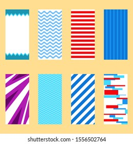 Beach towel, set of isolated beach towels. Vector illustration of a towel in a flat design. Vector.