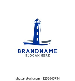 Beach Tower Logo Design, Light House Logo