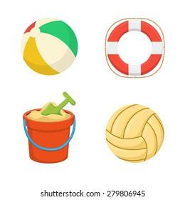 Beach toys collection. Balls. Lifebuoy. Sand bucket.