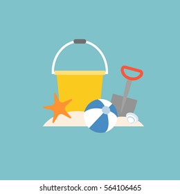 beach toys, pail, shovel, starfish and beach ball with bucket, flat design
