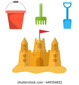Beach toys and sand castle. Child pail, shovel and rake colorful icons. Children summer games and activities. vector illustration in flat design