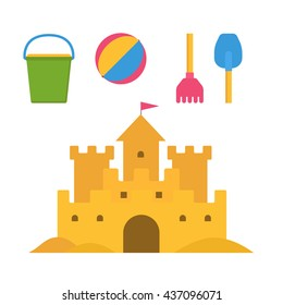Beach toys and sand castle vector illustration. Child pail, shovel, ball and rake colorful icons. Children summer games and activities in flat design. Cartoon sandcastle image.