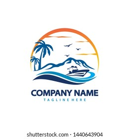 beach travel logo Royalty Vector