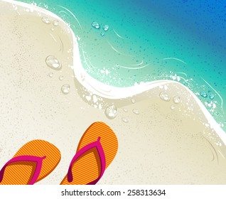 Beach and tropical sea with colorful flip flops, sand as background for summer time design. EPS10 vector file organized in layers for easy editing.