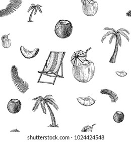 Beach and Tropics sketch seamless pattern. Vacation hand drawn background.