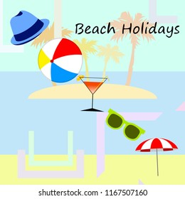 beach umbrella ball sunglasses cocktail hat beach holiday vector background