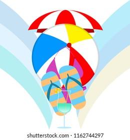 beach umbrella ball swimsuit flip flops cocktail e