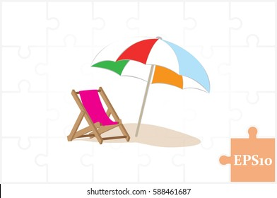 Beach umbrella and chair icon vector illustration eps10. Isolated badge for website or app - stock infographics