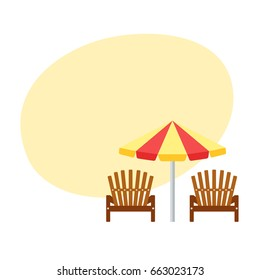 Beach umbrella and chair. Summer flat illustration with parasol and two longue.