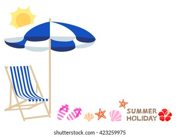 Beach umbrella and chair white background