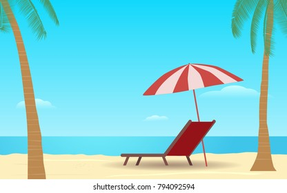 beach umbrella in flat icon design at sea with blue sky background