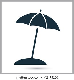 Beach umbrella icon on the background