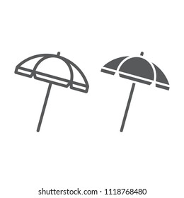 Beach umbrella line and glyph icon, travel and parasol, sun umbrella sign vector graphics, a linear pattern on a white background, eps 10.