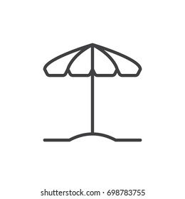 Beach umbrella line icon, outline vector sign, linear style pictogram isolated on white. Parasol symbol, logo illustration. Editable stroke. Pixel perfect vector graphics