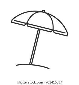 Beach umbrella linear icon. Thin line illustration. Contour symbol. Vector isolated outline drawing