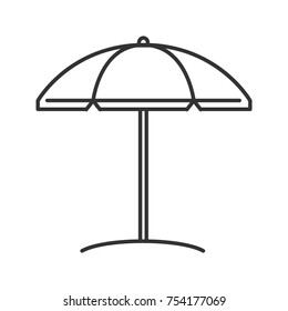 Beach umbrella linear icon. Thin line illustration. Sun protection. Parasol. Contour symbol. Vector isolated outline drawing