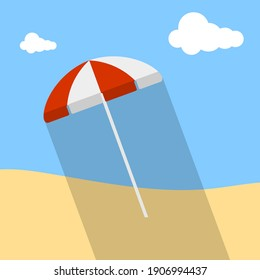 Beach umbrella with long shadow against the background of the sky and sand. Vector, cartoon illustration. Vector.