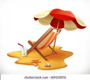 Beach umbrella and lounge chair, 3d vector icon