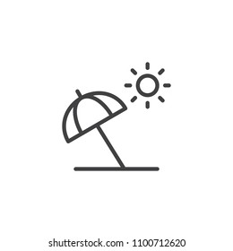 Beach umbrella outline icon. linear style sign for mobile concept and web design. beach parasol simple line vector icon. Symbol, logo illustration. Pixel perfect vector graphics