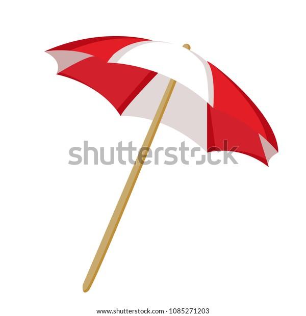 4b87b30917 Beach Umbrella Red Color White Strip Stock Vector (Royalty Free ...