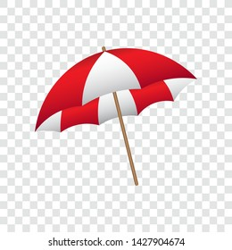 Beach umbrella, red and white, vector illustration.