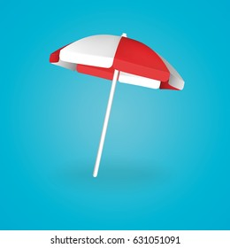 Beach Umbrella Red and White. Vector illustration.