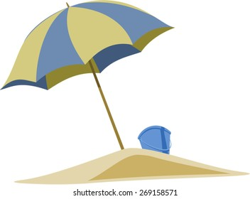 Beach umbrella with sand and bucket