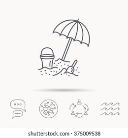 Beach umbrella in sand icon. Bucket with shovel sign. Baby summer games symbol. Global connect network, ocean wave and chat dialog icons. Teamwork symbol.
