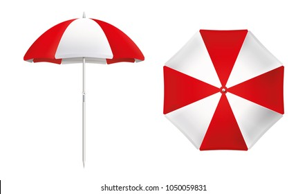 Beach umbrella set. Red and white design. Isolated for all backgrounds.