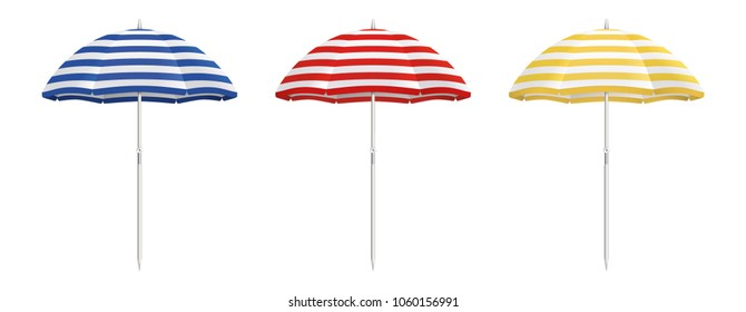 Beach umbrella set. Striped design. Isolated for all backgrounds.