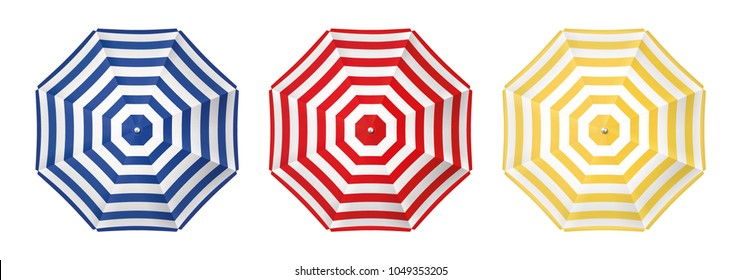 Beach umbrella set. Top view, striped design. Isolated for all backgrounds.